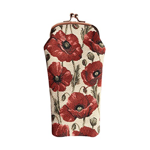 - Signare Tapestry Red and White Eyeglasses Pouch Sunglasses Bag Spectacle Pouch with Poppy Flower (GPCH-POP)