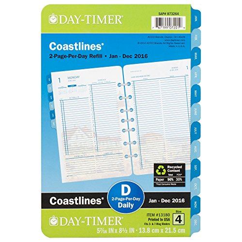 Day-Timer Two Page Per Day Refill 2016, 12 Months, Loose-Leaf, Desk Size, 5.5 x 8.5 Inches, Coastlines (13180)