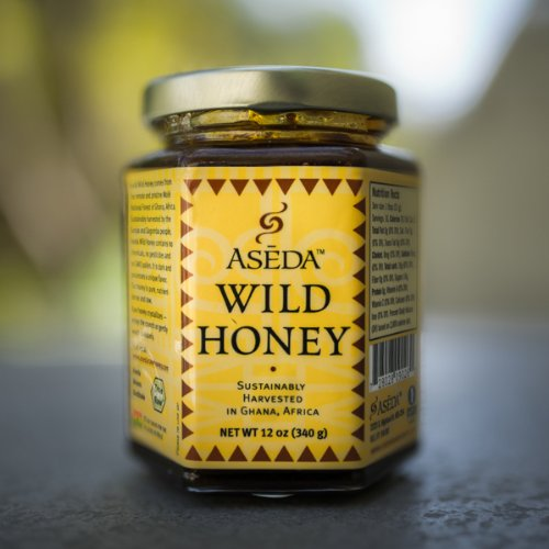 (Aseda Wild Honey - 12 Oz Jar - Non-GMO, Organic, Fair Trade, Raw, Natural African Honey from Ghana - Natural Sweetener)