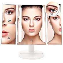 Lighted Makeup Mirror, Bestope Trifold 24 LED Lighted Vanity Mirror with 10X/3X/2X/1X Magnification&Touch Screen Dimming, USB and Battery Power Supply, 180°Rotatable Countertop Costmetics Mirror