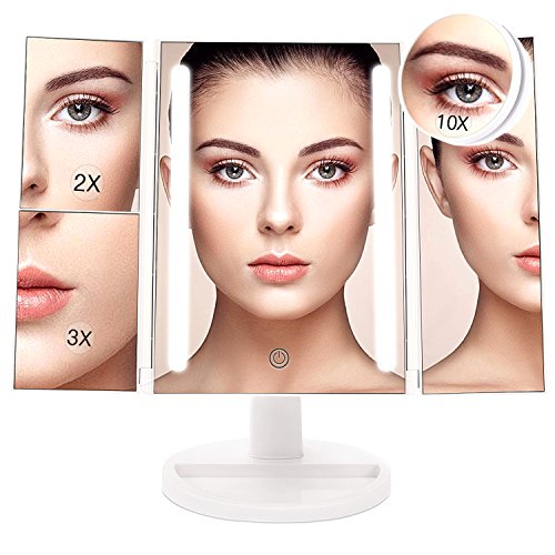 BESTOPE 24 LED Makeup Vanity Mirror with 3X/2X Magnification,Detachable 10X Magnifying Mirror,Touch Screen, 180°Adjustable Rotation, Dual Power Supply, Countertop Costmetic Mirror -