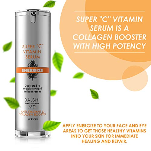 51ZfsyJ%2B5HL - Energize Vitamin C Serum for Face & Eyes - Clinical Strength Collagen Booster with Triple Vitamin C - Dermatologist Developed Skin Care For Anti-aging, Fades Dark Spots and Repairs Sun Damage 1oz