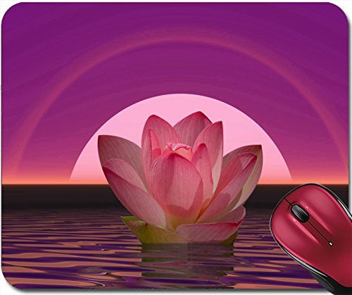 Liili Mousepad Pink lily flower on water in front of moon or sun with halos IMAGE ID (Pink Halo Pattern)