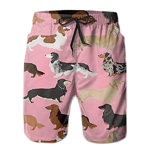 Sausage Dog Mens Beach Pants Swimming Trunks Quick Dry Board Short with Pockets White ()