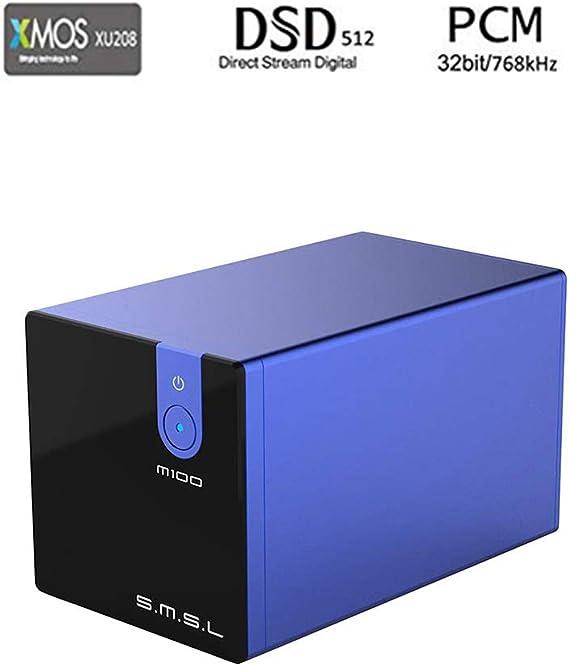 SMSL M100 USB DAC AK4452 DSD512 Coaxial Optical OTG 32Bit/768kHz Hifi Audio Decoder (Blue)