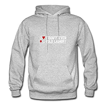 Custom I_dont_even_fold_laundry Grey Women 100% Cotton Sweatshirts Fitted Funny X-large