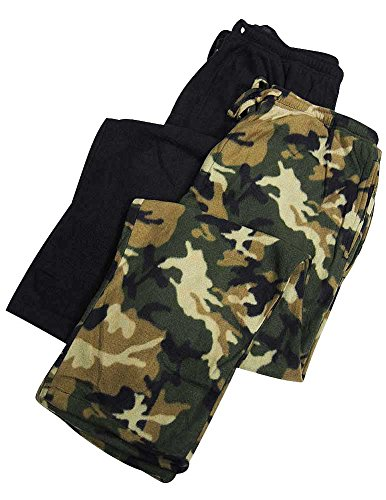 Hanes - Mens Big 2 Pack Micro Fleece Lounge Pant, Black, Olive 37529-XXX-Large (Big Mens Fleece Pajama Pants)