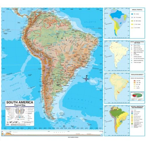 South America Advanced Political Classroom Map on Roller w/ Brackets