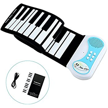 Kids Piano,Sanmersen Roll Up Piano Keyboard 37 Keys Flexible Soft Electric Digital Portable Piano for Beginner Musical Instruments Educational Toy Christams