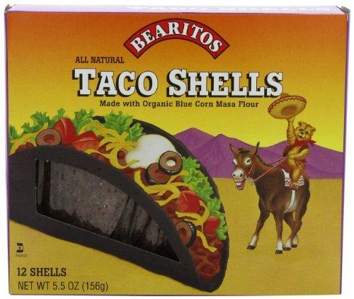 Corn 12 Shells - Bearitos Blue Corn Taco Shells, 12 Count (Pack of 12) by Little Bear