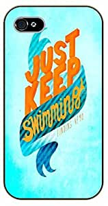 iPhone 5 / 5s Light blue, just keep swimming - black plastic case / Walt Disney And Life Quotes, nemo, finding, sea