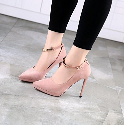 Elegant Word Buckle 10 Fine Shoes Elegant Spring Fashion MDRW Shoes 5Cm Mouth Sexy One Sharp Work 37 Heels Women Lady Leisure Shallow Pink Heel Single pawf58