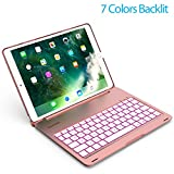 iPad Pro 10.5 Keyboard Case 2017 - LED 7 Colors Backlit, Ultra Slim and Aluminum Alloy & 130° Folio Back Hard Cover- (for model A1701/A1709 ) (Rose glod)
