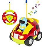 deAO Remote Control Cartoon Car for Toddlers, RC Car Toy with Light and Music (Racing Car)