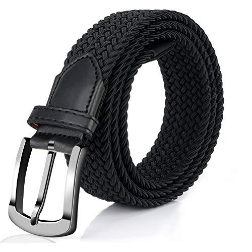 Fairwin Elastic Braided Belt, 1.3'' Wide Stretch Belt, New Buckle Fabric Woven Belt