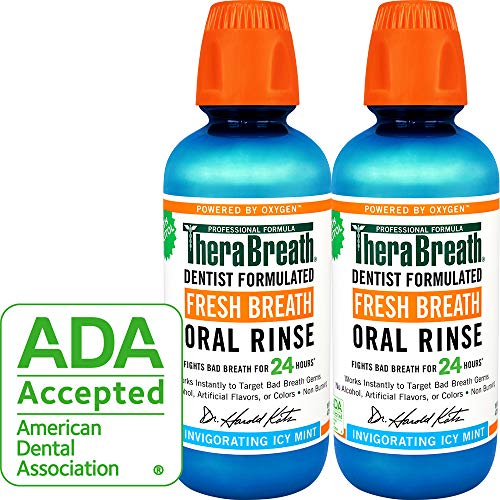 (TheraBreath Fresh Breath Oral Rinse, Icy Mint, 16 Ounce Bottle (Pack of 2) )