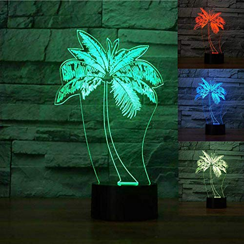 3D Palm Tree Night Light Table Desk Optical Illusion Lamps 7 Color Changing Lights LED Table Lamp Xmas Home Love Brithday Children Kids Decor Toy Gift (Palm Tree Night Light)