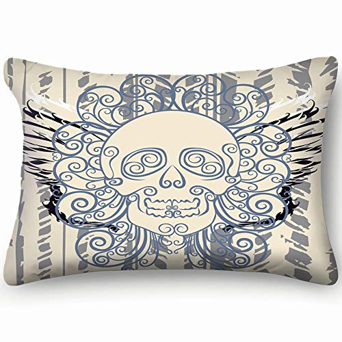 best bags Dead Wing Skull Bright Graffiti Art Skin Cool Super Soft and Luxury Pillow Cases Covers Sofa Bed Throw Pillow Cover with Envelope Closure 1624 Inch]()