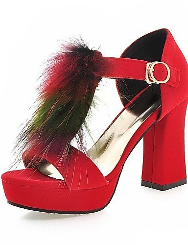 ShangYi Womens Shoes Fleece Chunky Heel Heels / Peep Toe / Platform Sandals Office & Career / Casual Black / Blue / Red Black
