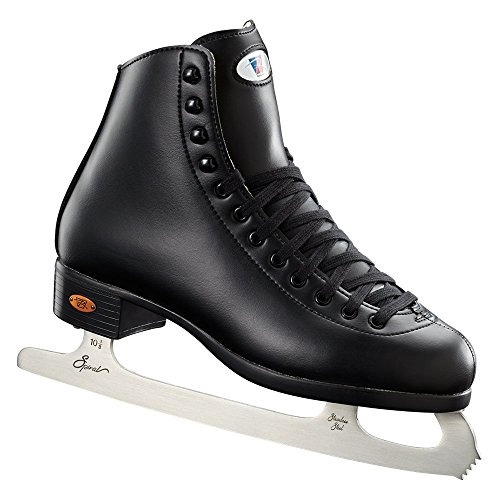 Riedell Skates - 110 Opal - Recreational Ice Skates with Stainless Steel Spiral Blade for Men | Black | Size 8
