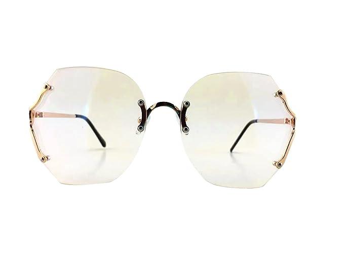 89cac60614 70 s Vintage Rimless Square Oversized Large Lenses Women Sunglasses (Gold