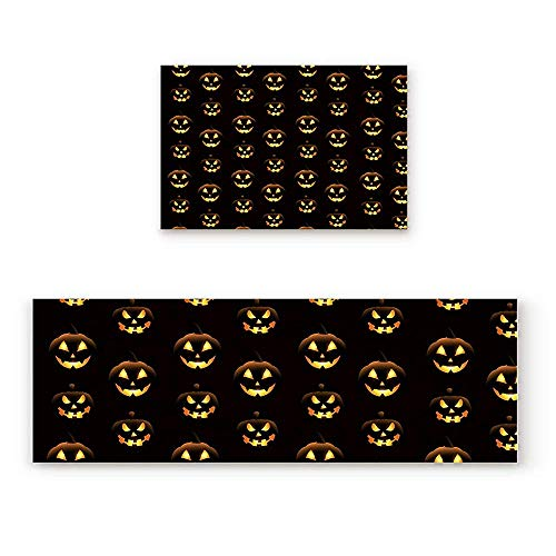 YGUII 2 Piece Non-Slip Kitchen Mat Doormat Runner Rug Set,Kids Area Rug Carpet Bedroom Rug Halloween Pumpkins Pattern Different Face Expressions Happy Angry Scary Puzzled,15.7x23.6IN+15.7x47.2IN