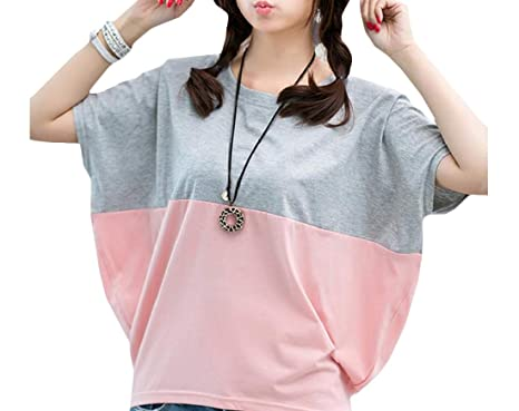 3ea81f73862c7 Adriat Women s Short Sleeve Summer Color Block O-Neck Modern Tops T-Shirt  Gray