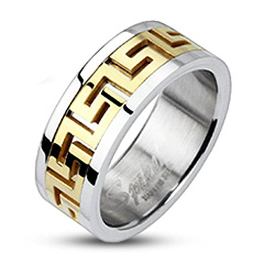 Jinique STR-0006 Stainless Steel Gold IP Maze Pattern Center Band Ring; Comes Box