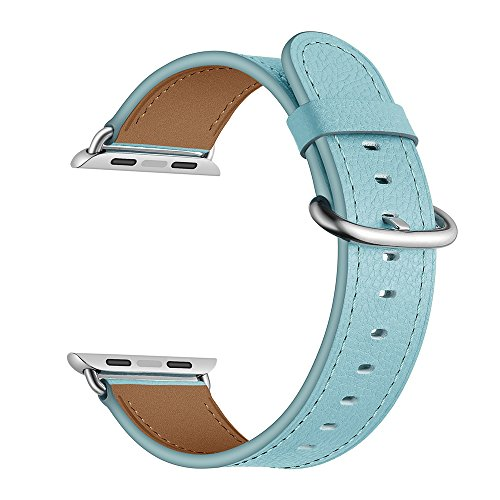 LoveBlue for Series 3/Series 2/Series 1 Apple Watch Band, Buckle Cuff Strap Apple Watch Leather Band, Genuine Leather Band Bracelet Wrist Watch Band with Adapter for Apple Iwatch (Watch Chrome Leather Band)