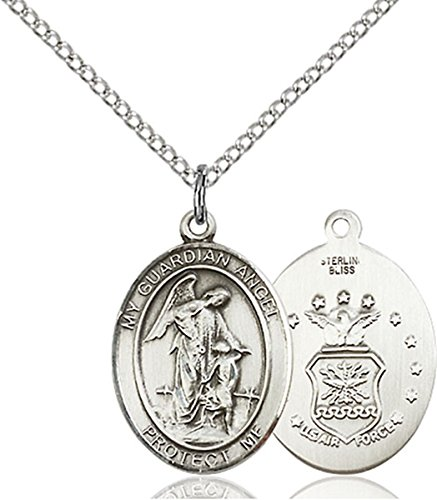bliss Sterling Silver Guardian Angel Air Force Medal Pendant, 3/4 Inch