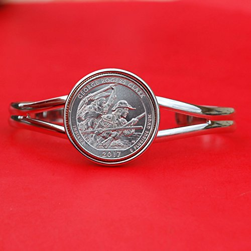 US 2017 Indiana GEORGE ROGERS CLARK NATIONAL HISTORICAL PARK QUARTER BU Unc Coin Silver Plated Cuff Bracelet - Beautiful