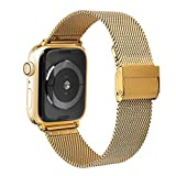 Watruer Compatible Apple Watch Band 44mm 42mm, Stainless Steel Mesh Loop with Adjustable Closure Replacement iWatch Band for Apple Watch Series 4 Series 3 Series 2 Series 1 Sport and Edition - Gold