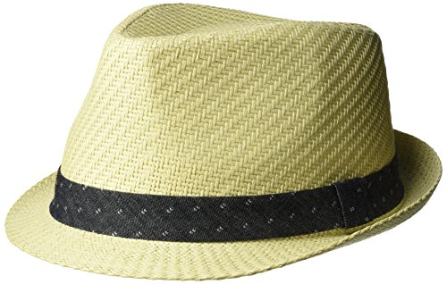 - Levi's Men's Straw Fedora with Twill Band, Ivory, Small/Medium