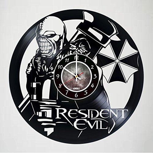 Price comparison product image Resident Evil Video Game - Vinyl Record Wall Clock - Poster - Get unique living room wall decor - Gift ideas for boys and girls,  friends,  men and women,  teens,  children - Zombies Unique Art Design