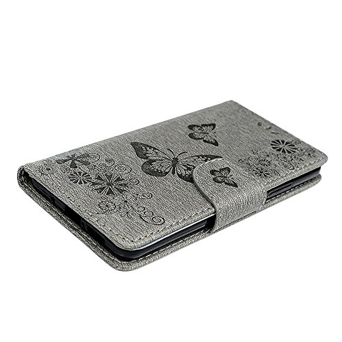Funda Huawei Mate 10 Libro de Cuero Con Tapa y Cartera Carcasa PU Cuero Con TPU Silicona Case Interna Suave Soporte Plegable Ranuras para Tarjetas y Billetera Cierre Magnético - GEMYON Gris