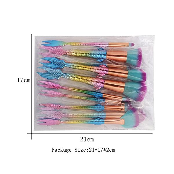 COSHINE Mermaid Makeup Brush Set, 10pcs Rainbow Unique Mermaid Makeup Brush Set with Colorful Brushes Pouch, Unicorn… 10