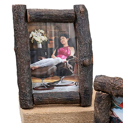 Wilderness Bay Real Wood Log Branch Picture Frame, Wall or Tabletop, Vertical or Horizontal (5x7) (Lodge Picture Frame)