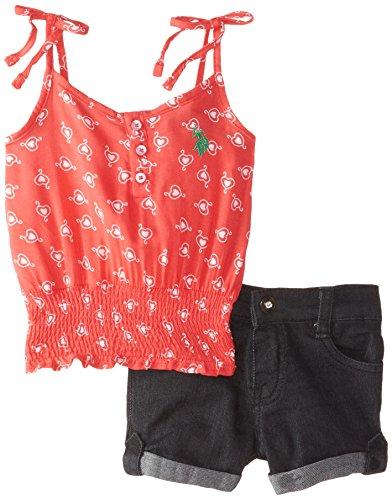 U.S. Polo Assn. Baby Girls' Printed Rayon Challis Top and Denim Short