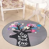 Hyun times Carpet camera magic circle round children bedroom bedside cloakroom computer chair cushion ( Color : D , Size : 180cm )