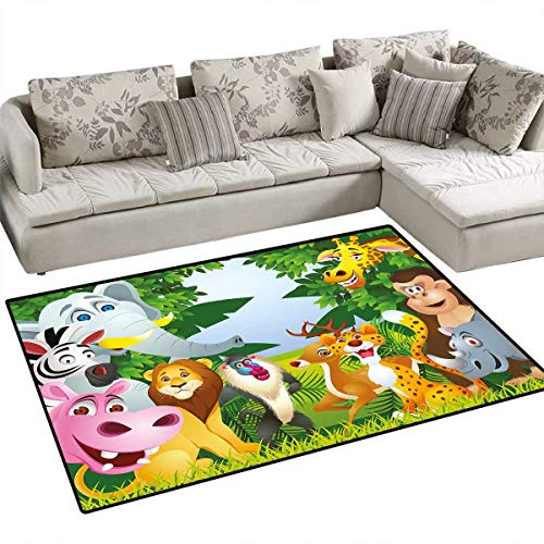 Nursery Girls Bedroom Rug Group of Safari Jungle Animals with Funny Expressions Cute African Savannah Mascots Door Mat Indoors Bathroom Mats Non Slip 4'x6' -