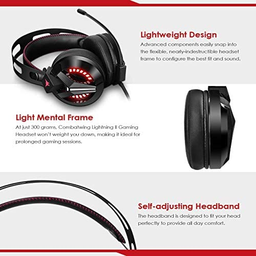 Combatwing Gaming Headset – PS4 Headset PC Headset Xbox One Headset with Noise Canceling Mic Gaming Headphones for PS4/Super Nintendo/Nintendo 64/Xbox One(Adapter Not Included) 51ZfwDJZ9yL