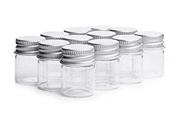 1e4aee5e5 5ml Clear Glass Bottles Candy Bottle with Aluminum Screw Cap Cute Empty  Sample Jars Small Containers