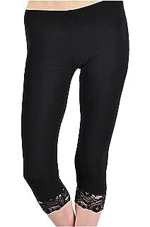 8eb2e4e111592f Sakkas Cotton Lycra Blend Lace Trim Stretch Capri Leggings - Made in ...