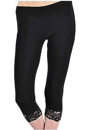 f2f25d4f842520 KMystic Cotton Blend Lace Trim Capri Leggings at Amazon Women's ...