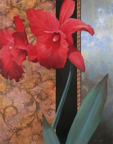 Lily Red/Teal Damasque by Tan Chun - 16x20 Inches - Art Print Poster (Tan Chun Lily)