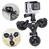 Erligpowht Three Suction Cup Mount with Greater Suction Power+ 1/4 Inch Tripod Mount Adapter + A Stainless steel Tripod head for GoPro Hero 4 3+ 3 2 1
