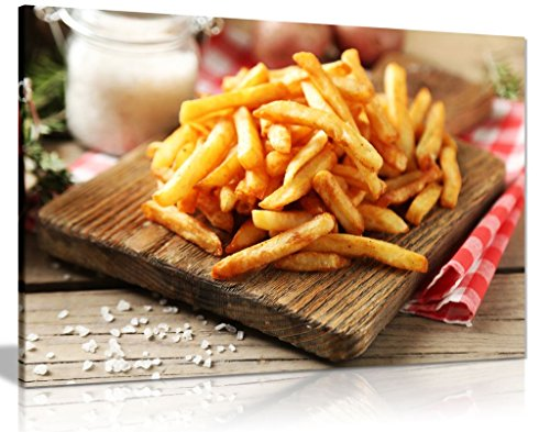 Chips French Fries Fast Food Restaurant Takeaway Canvas Wall Art Picture Print (30x20in) (French Fries Photo)