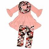 Unique Baby Girls 3 Piece Pastel Colors Floral Legging Set (6/XL)