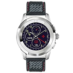 MyKronoz ZeTime Premium Hybrid Smartwatch with mechanical hands over a color touch screen – Regular Polished Silver / Black Carbon Red Stitching