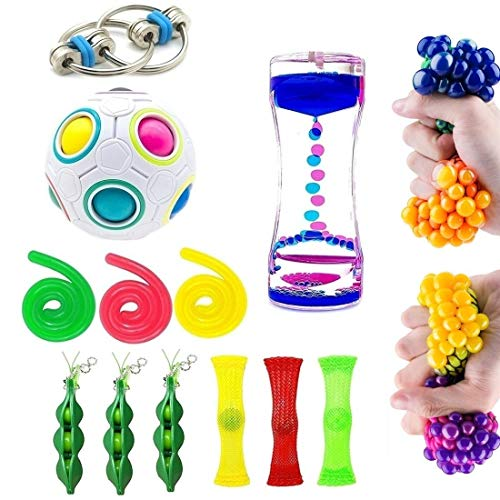 SpringFly 16 Pack Fidget Toys Bundle Sensory Toys Set-Bike Chain,Liquid Motion Timer,Rainbow Magic Sensory Ball and Squeeze Toys Value Assortment